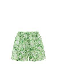 Ganni Green High-rise Rose-print Cotton-poplin Shorts