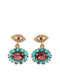 Ileana Makri - Metallic Diamond, Ruby, Sapphire & Turquoise Earrings - Lyst
