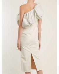 Emilio de la Morena White One-shoulder Floral-brocade Dress