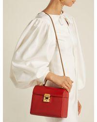 Mark Cross Red Sara Bi-colour Caviar-leather Bag