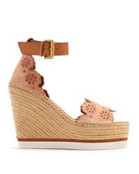 See By Chloé Natural Flower Laser-cut Suede Wedge Espadrilles