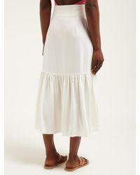 Adriana Degreas ハイライズ ボタン クレープミディスカート White
