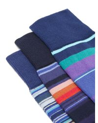 Ensemble de trois paires de chaussettes en coton Paul Smith pour homme en coloris Blue