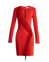Galvan Red Tunqui Fringed Jersey Mini Dress