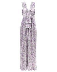 Paco Rabanne フローラル メタリックプリーツドレス Multicolor
