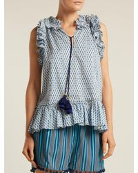 Figue Blue Vera Abstract Print Cotton Top