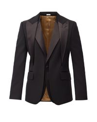 メンズ Alexander McQueen レイヤード ウール シングルスーツジャケット Black