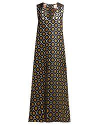 LaDoubleJ Black Pomodorini Oro-brocade Midi Dress