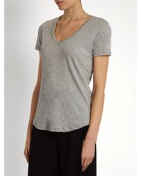 Todd Snyder Gray V-neck Cotton-blend Jersey T-shirt