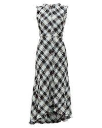Alexander McQueen Multicolor Frayed-trim Bouclé-tweed Dress