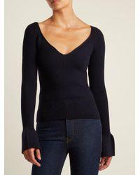 Khaite - Blue Alessandra Bell-sleeved Wool Sweater - Lyst