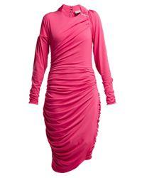 Preen By Thornton Bregazzi Alexandra テクスチャードジョーゼット シャーリングミディドレス Pink