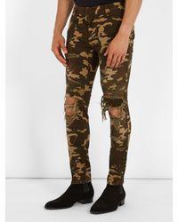 Balmain - Green Distressed Camouflage-print Skinny Biker Jeans for Men - Lyst