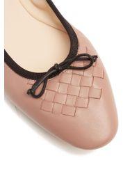 Bottega Veneta - Pink Intrecciato Leather Ballet Flats - Lyst