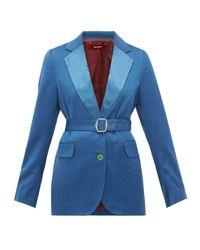 Sies Marjan Terry ベルテッド ウールツイルジャケット Blue
