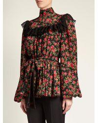 Dolce & Gabbana - Pink Rose-print Ruffle-trimmed Blouse - Lyst