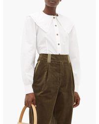 Ganni ラッフルカラー コットンポプリンシャツ White