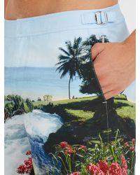 Orlebar Brown Blue Bulldog Mid-length Printed Swim Shorts for men