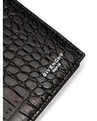Givenchy Black Crocodile Effect Bi Fold Leather Wallet for men