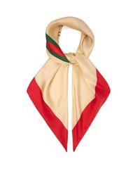 Gucci Red Logo Print Silk Scarf