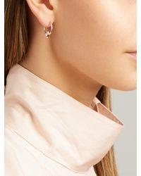 Marie Mas Pink Swinging Mini Hoop 18kt Rose Gold Earrings