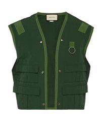 Gucci Green Sleeveless Cotton-blend Jacket for men