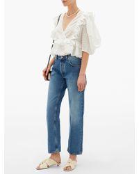 RHODE White Elodie Ruffled Cotton-blend Top