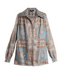 Edward Crutchley - Blue Oversized Monkey-print Silk Shirt - Lyst