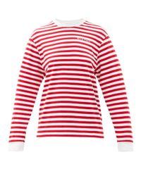 Bella Freud ロゴ ボーダー オーガニックコットンtシャツ Red