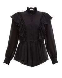 See By Chloé See By Chloé ラッフルカラー ジョーゼットブラウス Black