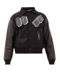 Veste teddy à manches en cuir et empiècement logo Off-White c/o Virgil Abloh pour homme en coloris Black