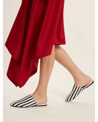 Marques'Almeida Multicolor Striped Point-toe Backless Leather Loafer