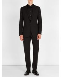 Dolce & Gabbana Black Gold Fit Shawl Lapel Stretch Wool Suit for men