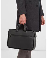 Bottega Veneta Blue Intrecciato-trim Leather Briefcase for men