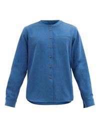 メンズ King & Tuckfield バンドカラー コットンデニムシャツ Blue