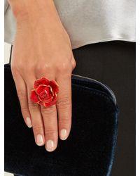 Oscar de la Renta - Red Rosette Enamel-painted Ring - Lyst
