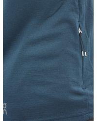 メンズ On クォーターファスナー ハイネック テクニカルtシャツ Blue