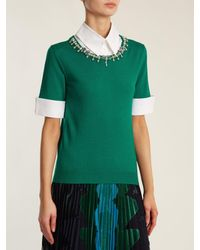 Mary Katrantzou Green Ella Crystal Embellished Wool Sweater