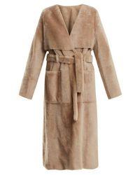 Yves Salomon Natural V-neck Tie-waist Shearling Trench Coat