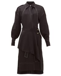 Proenza Schouler トップステッチ ギャバジンシャツドレス Black