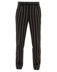 Éditions MR Black Francois Striped Wool-blend Seersucker Trousers for men