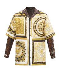 メンズ Versace バロック シルクツイルシャツ Brown