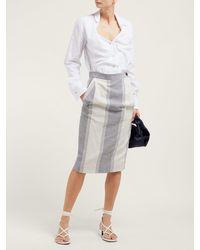 Vivienne Westwood Anglomania Blue Striped Cotton-blend Pencil Skirt