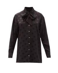 Dolce & Gabbana ポルカドットジャカード シルクブラウス Black