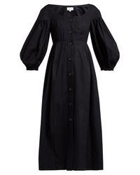 Robe midi en coton à manches ballon Portofino Isa Arfen en coloris Black