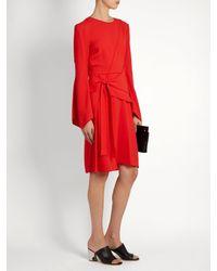 Proenza Schouler Red Asymmetric Panelled Crepe Dress