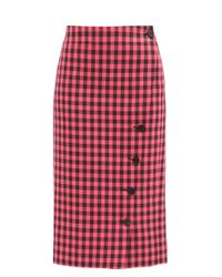 Balenciaga ギンガムチェック ツイルペンシルスカート Red