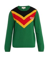 Gucci Green Chevron Intarsia Wool Sweater for men