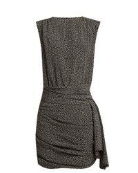 Saint Laurent Black Polka-dot Print Crepe De Chine Dress