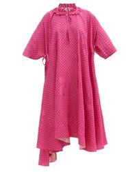 Balenciaga ラッフルネック ポルカドットジャカード クレープドレス Pink